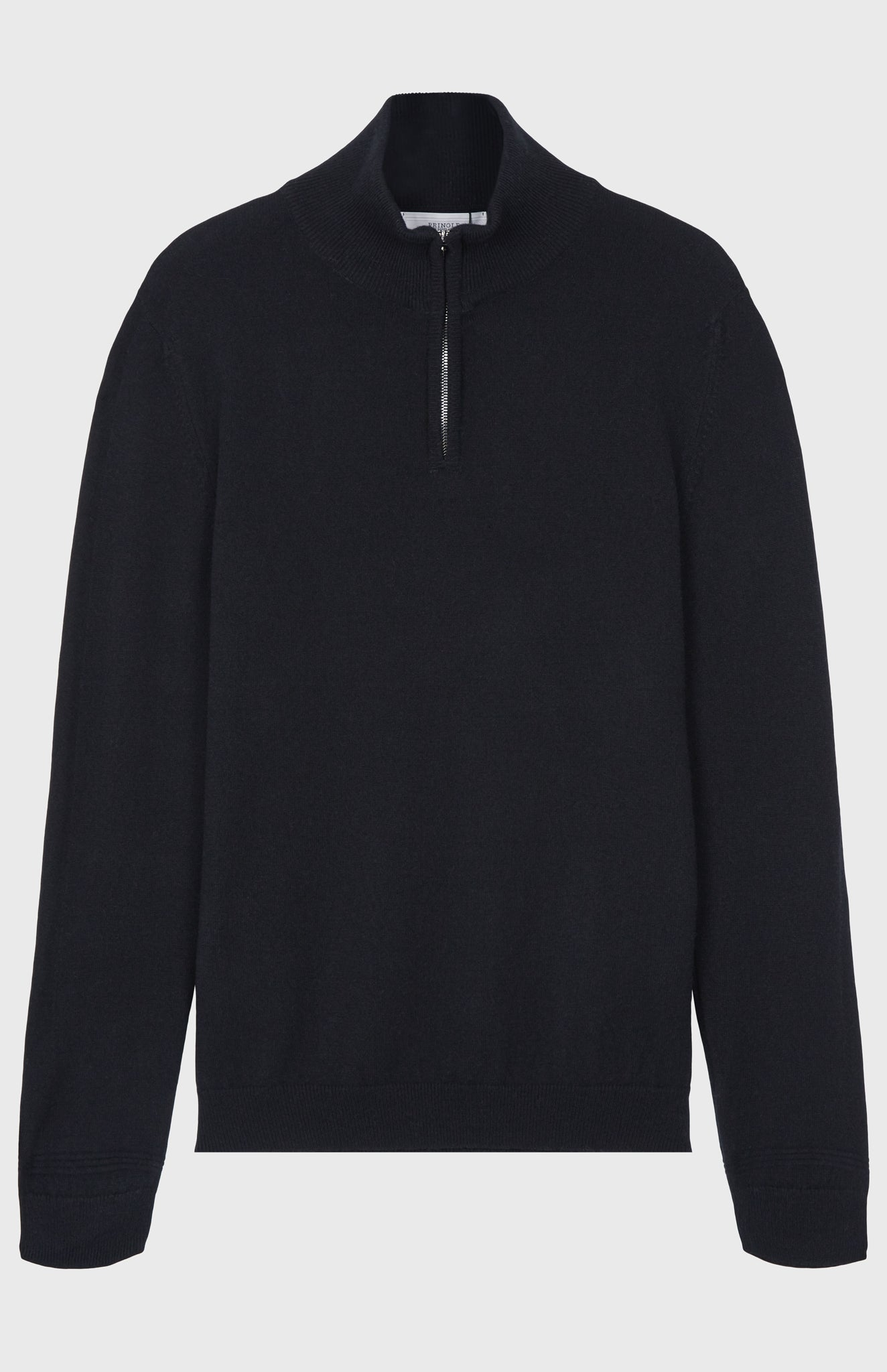Zip Neck Cashmere Jumper In Black