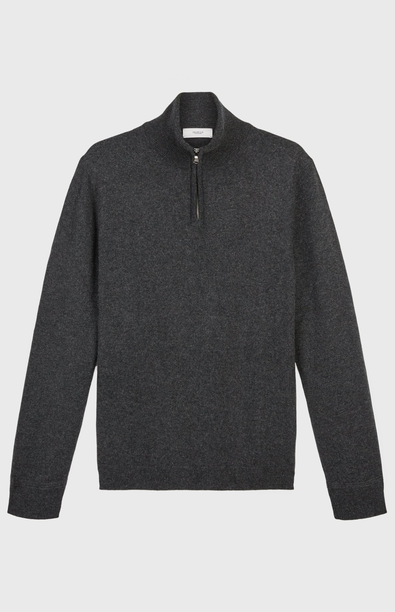 Zip Neck Cashmere Jumper In Charcoal