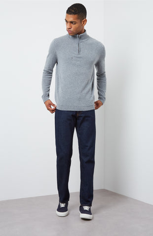 Zip Neck Cashmere Jumper In Flannel Grey