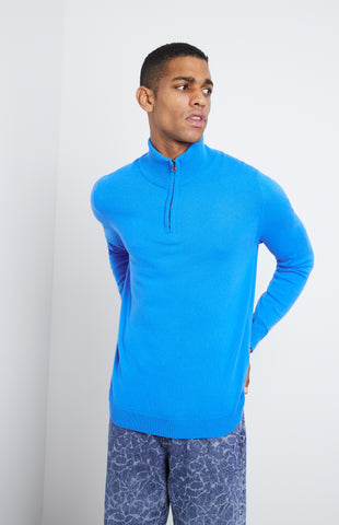 Zip Neck Cashmere Jumper In Cobalt Blue