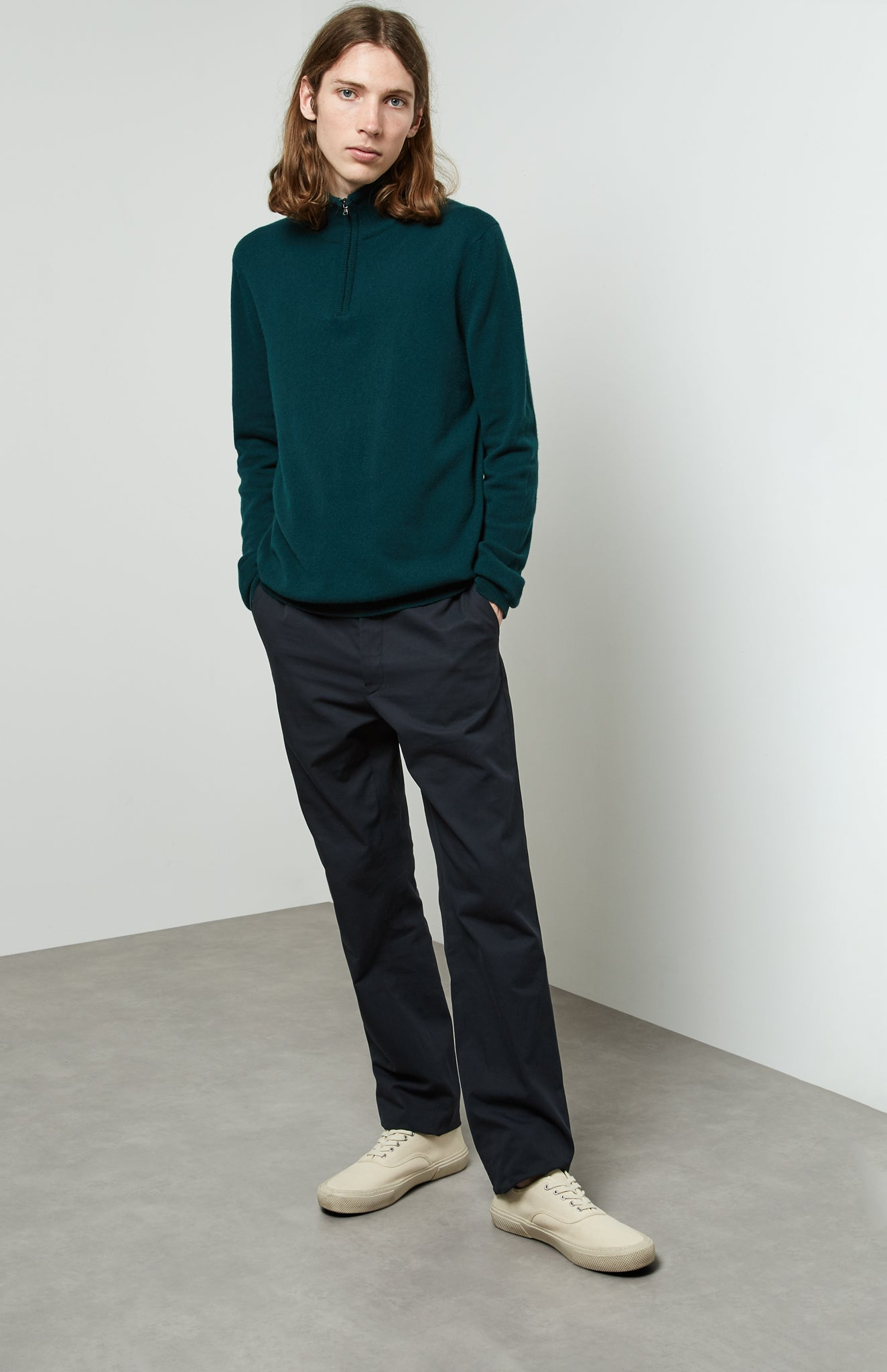Zip Neck Cashmere Jumper In Evergreen