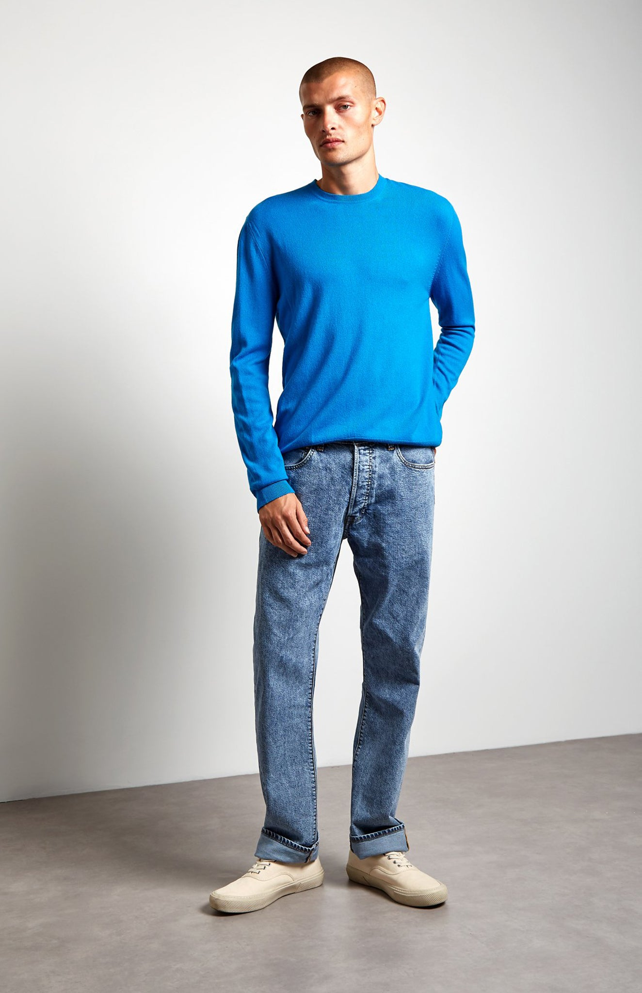Scottish Cashmere Jumper In Blue
