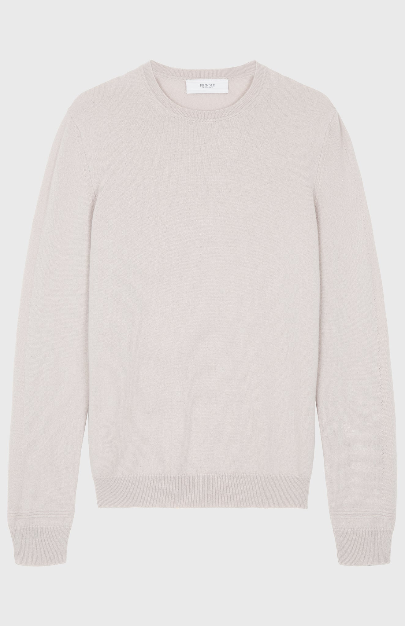 Men's Scottish Cashmere Round Neck Jumper In Pale Sand