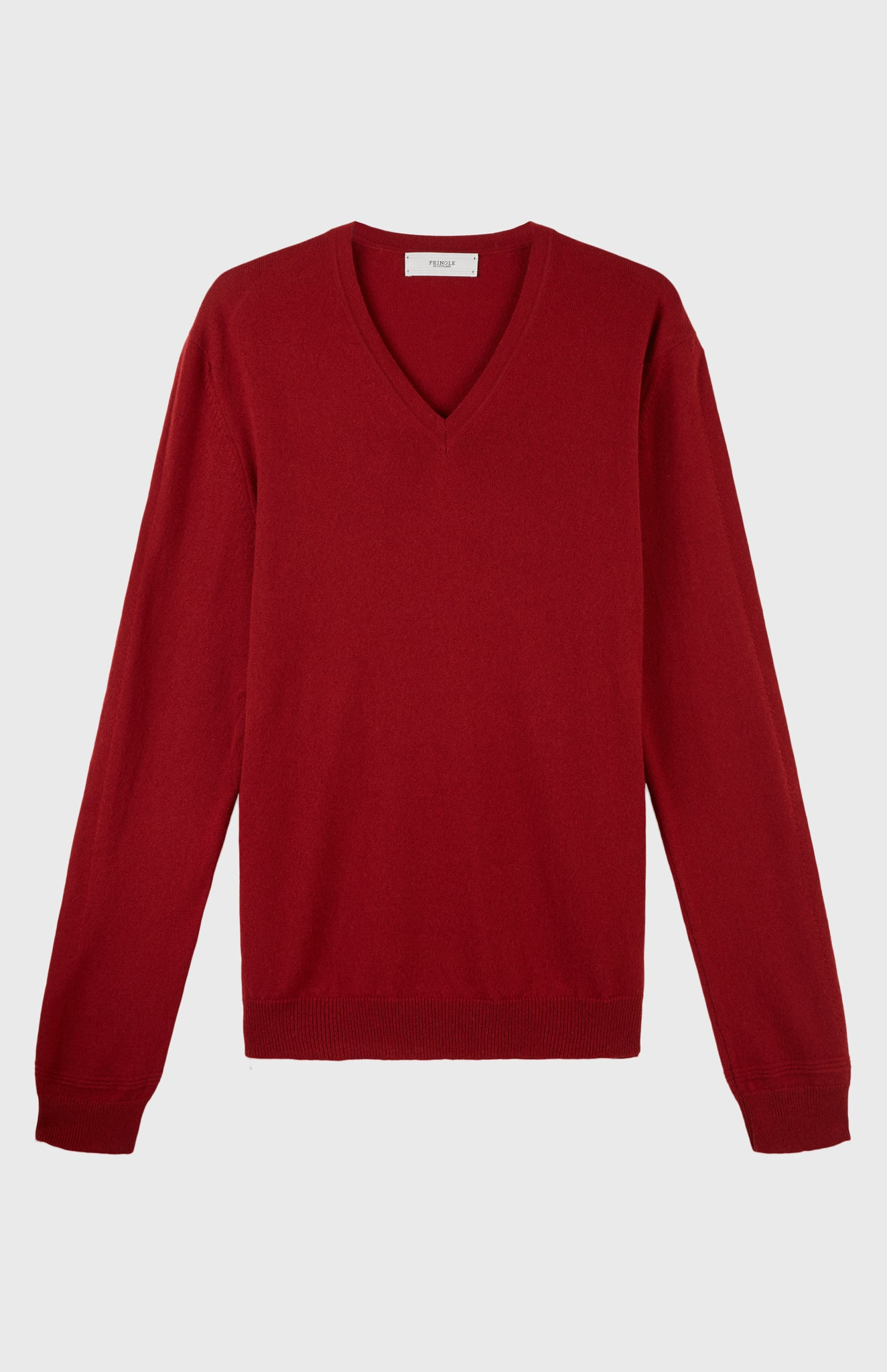 V Neck Cashmere Jumper  In Deep Red