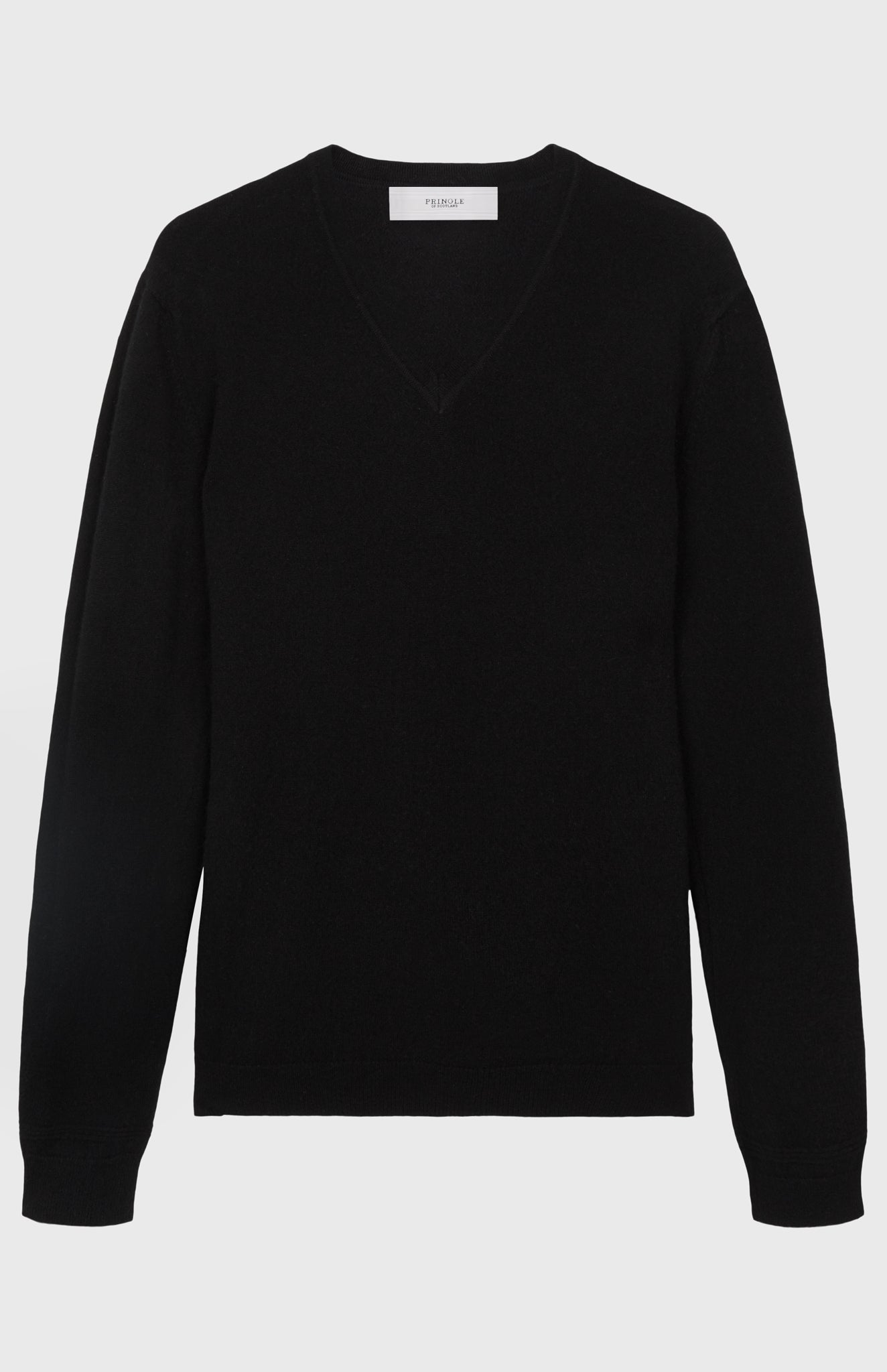 V Neck Cashmere Jumper  In Black