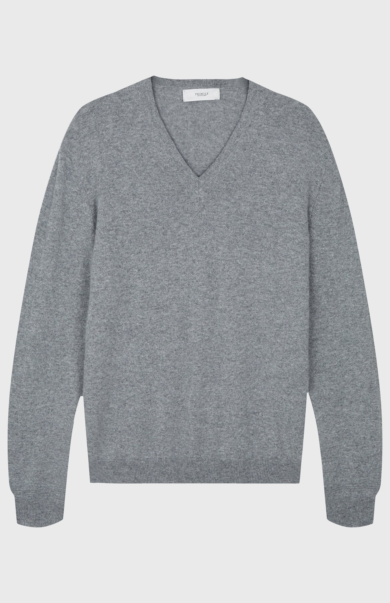 V Neck Cashmere Jumper In Flannel Grey