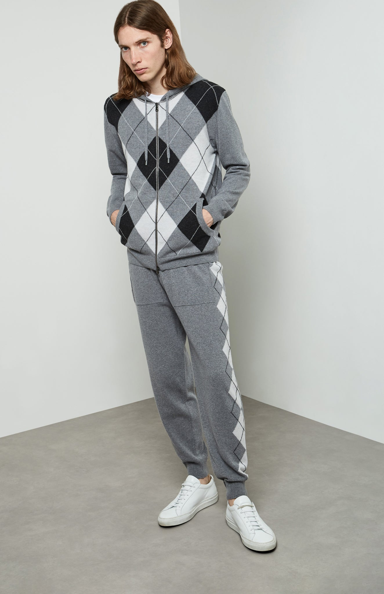 Argyle Front Hoodie In Flannel Grey