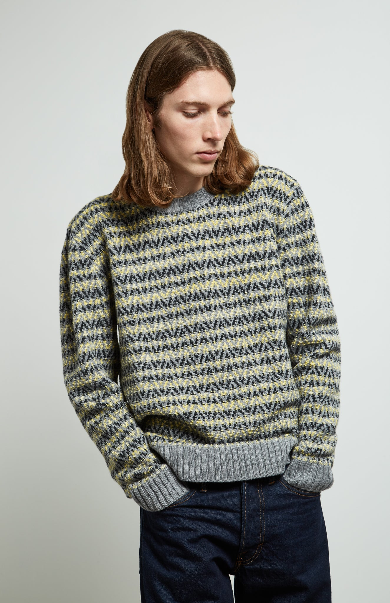 Round Neck Chevron Jumper In Flannel Grey