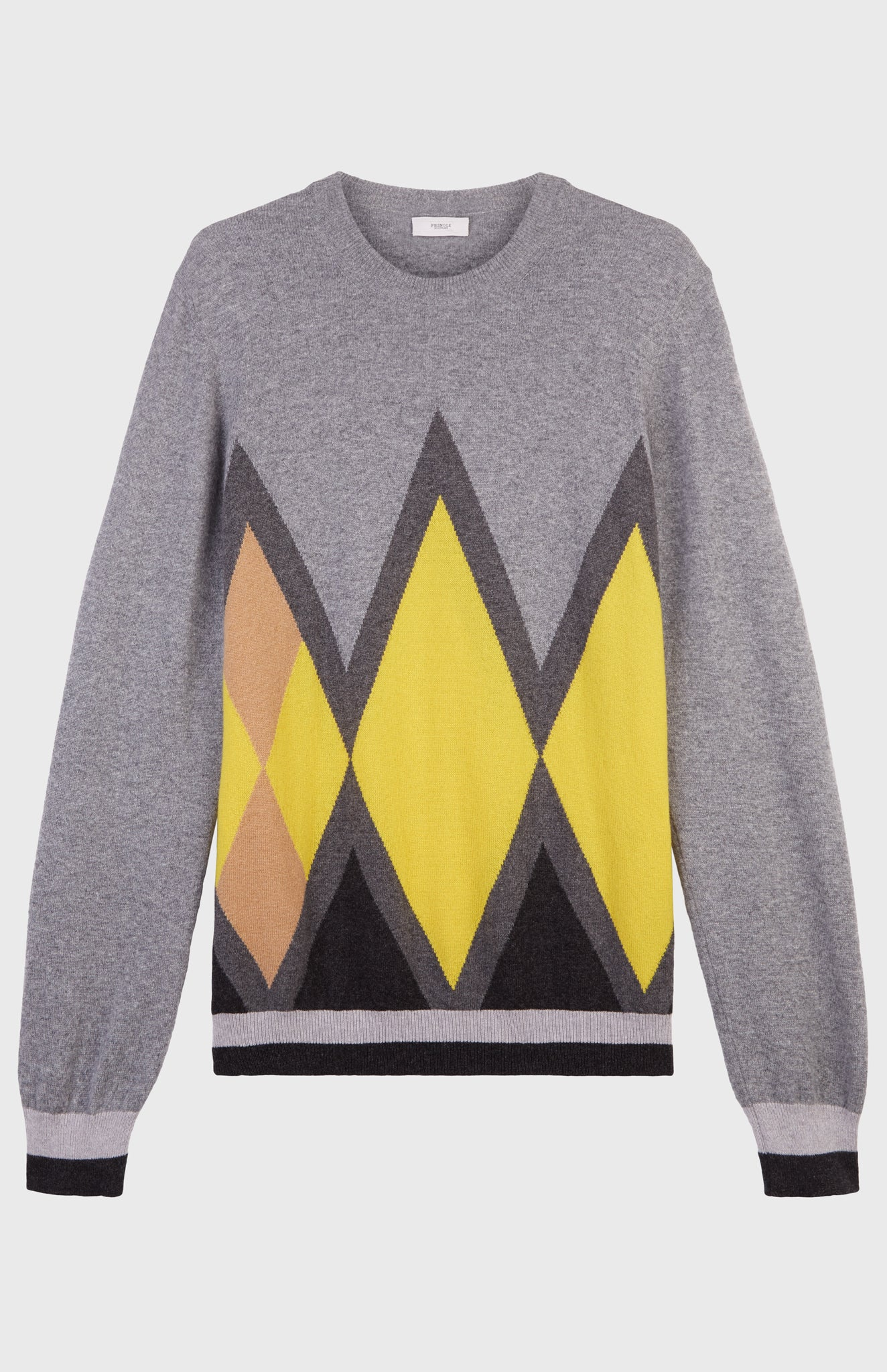 Round Neck Intarsia Diamond Jumper In Flannel Grey