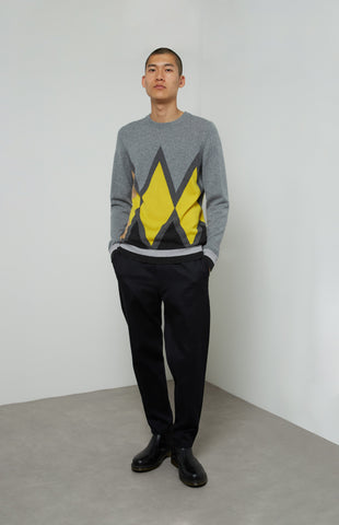 Intarsia Diamond Cashmere Jumper In Grey