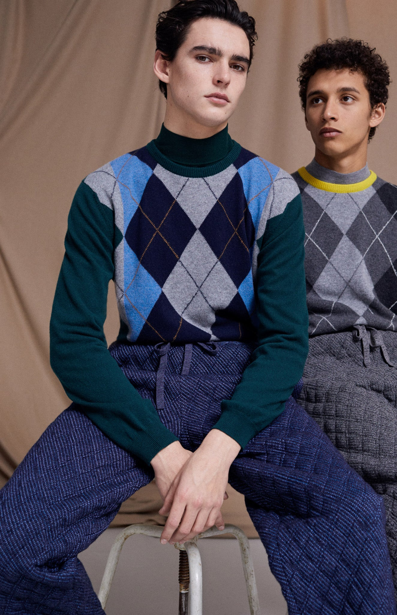 Round Neck Argyle Stripe Jumper In Evergreen