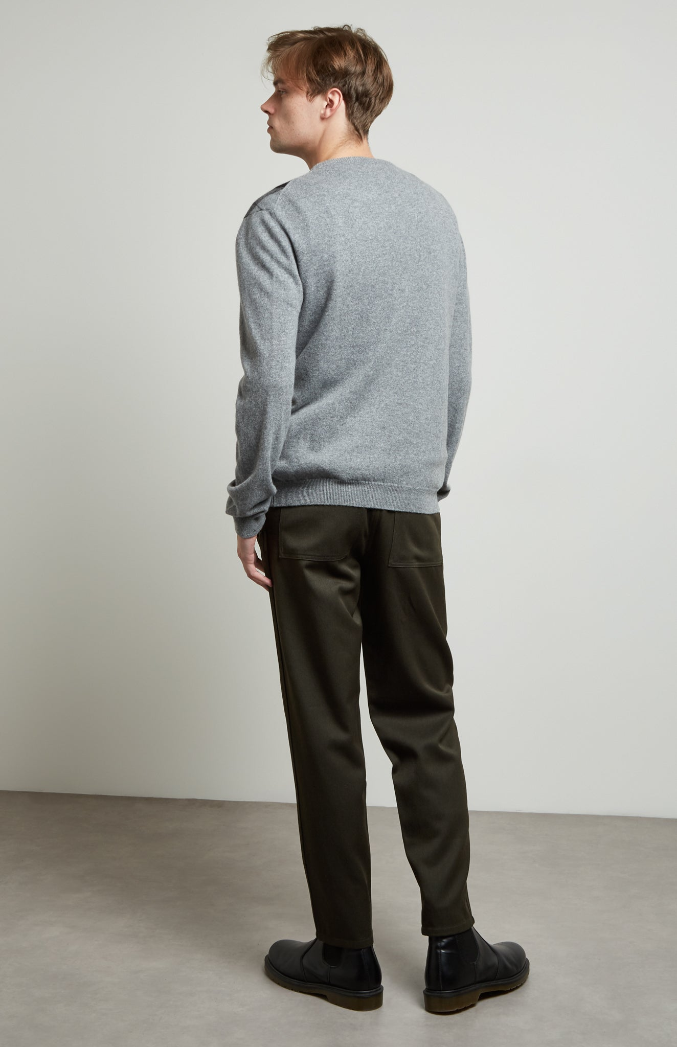 Round Neck Argyle Stripe Jumper In Flannel Grey/Graphite