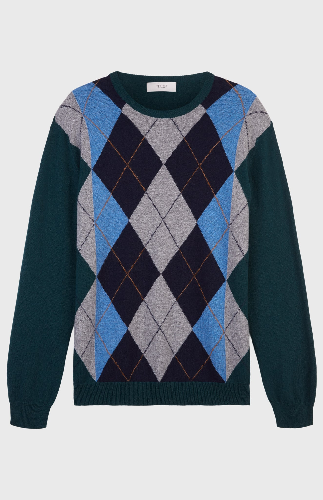 Argyle Stripe Cashmere Jumper In Green