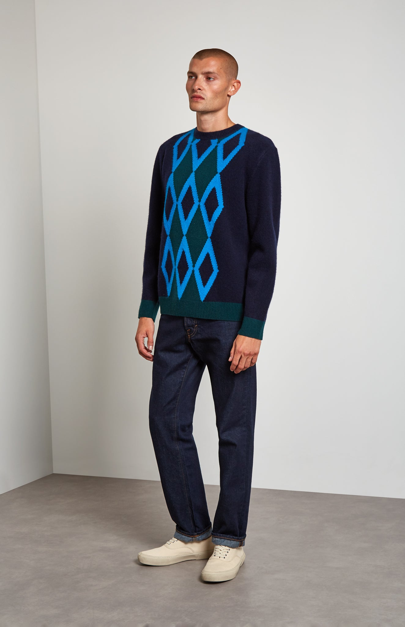 Argyle Intarsia Lambswool Jumper In Ink