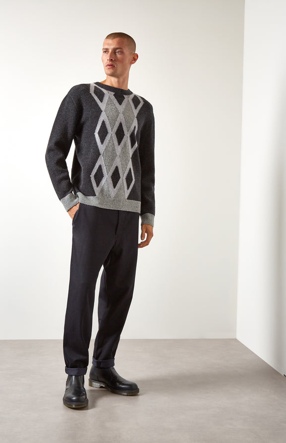 Argyle Intarsia Lambswool Jumper In Charcoal