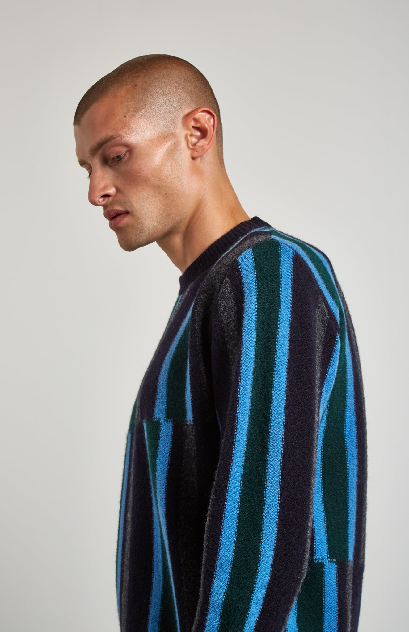 Deconstructed Stripe Jumper In Ink