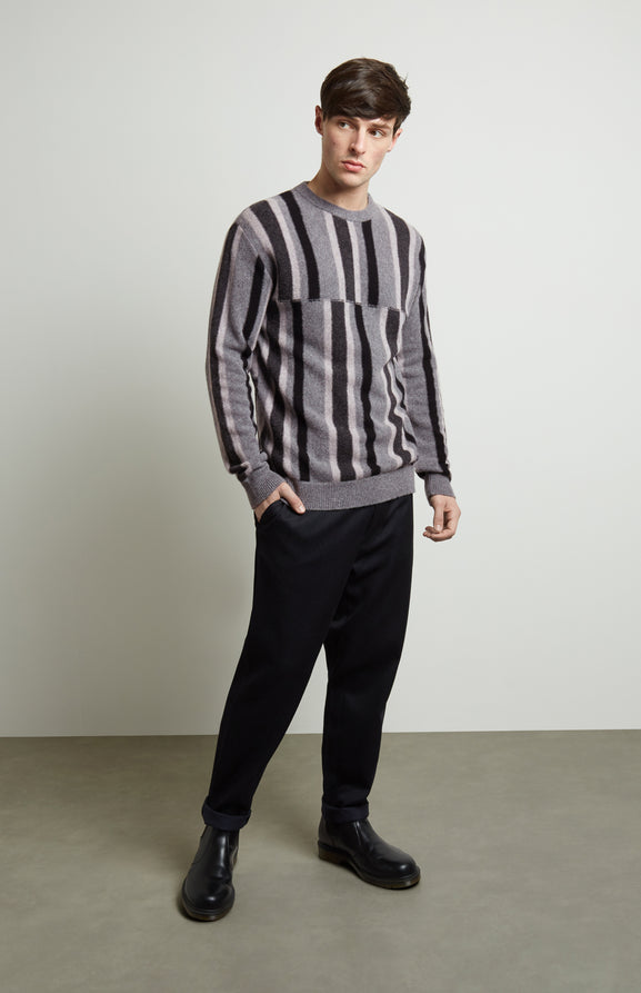 Deconstructed Stripe Jumper In Graphite