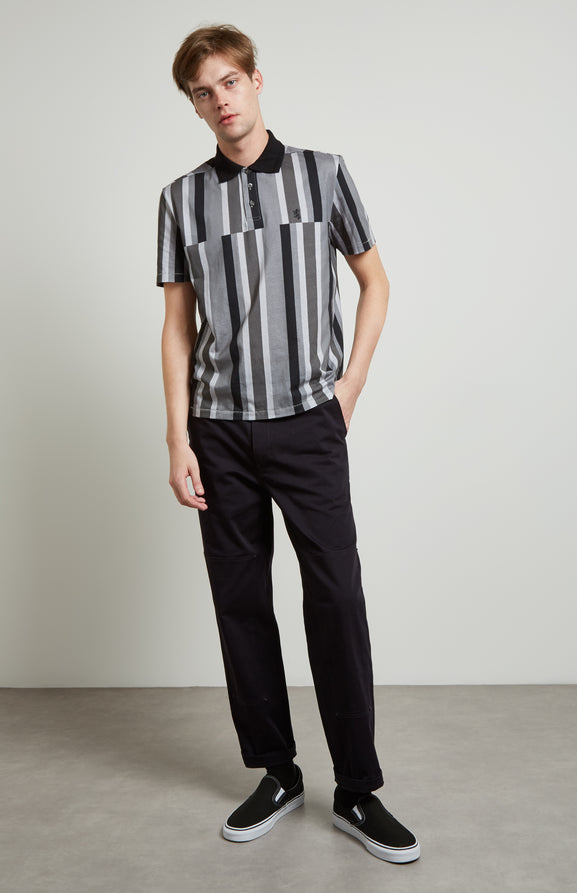 Deconstructed Stripe Polo Shirt In Graphite
