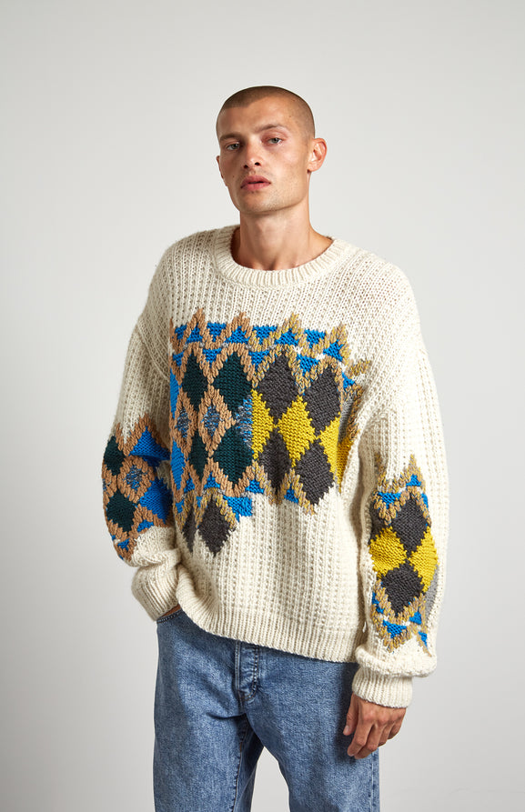 Hand Knitted Wool Motif Jumper In White