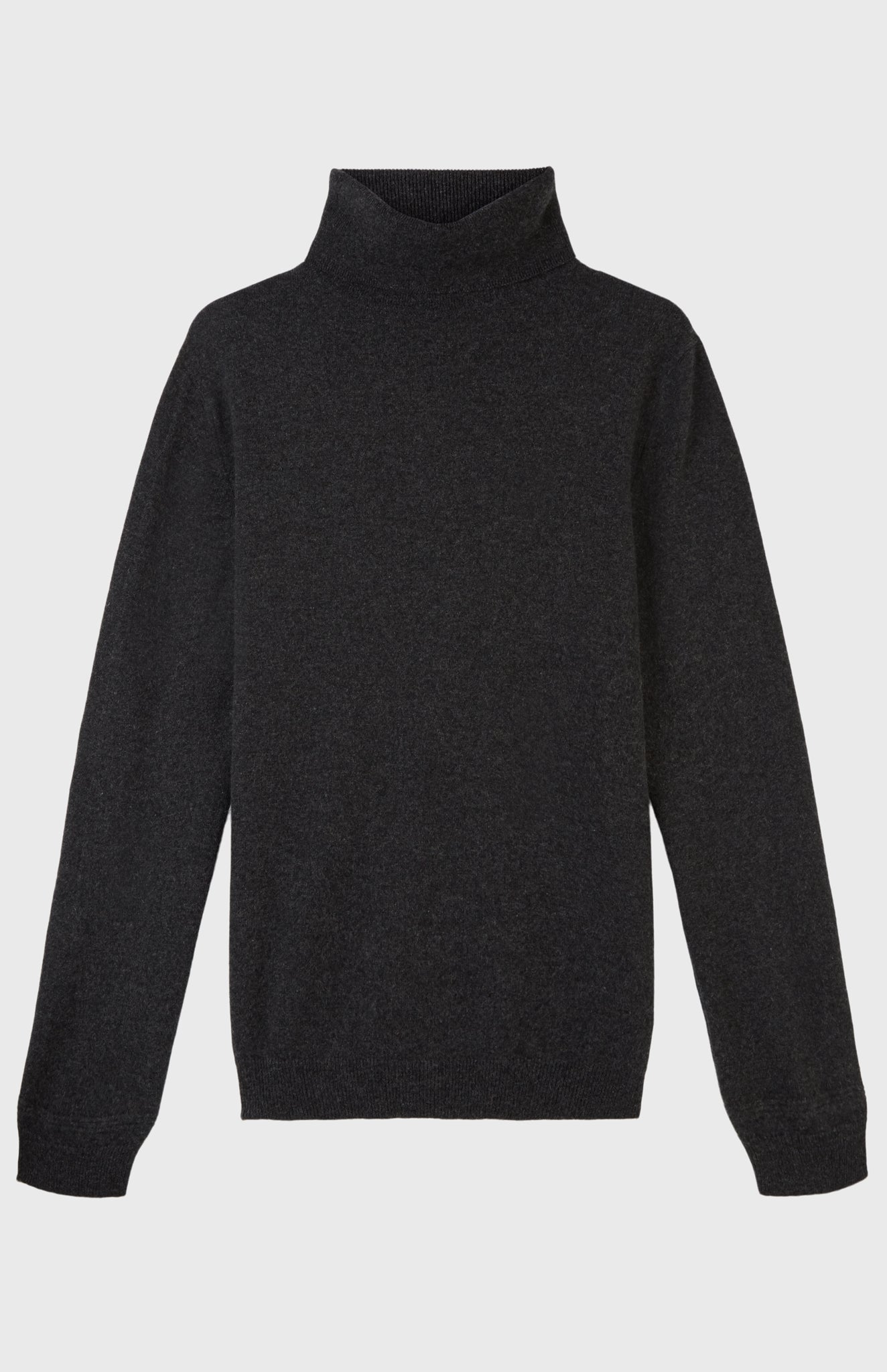 Roll Neck Cashmere Jumper In Charcoal