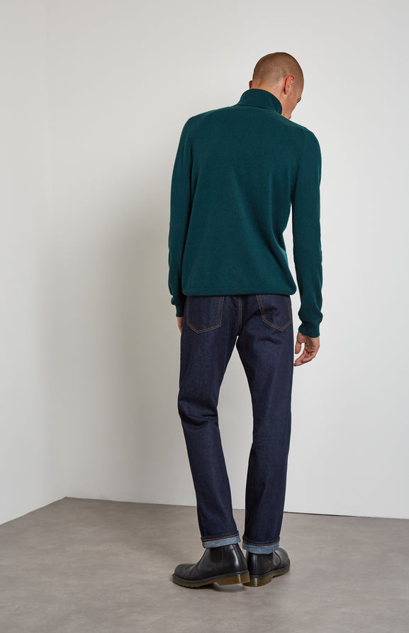 Roll Neck Cashmere Jumper In Evergreen