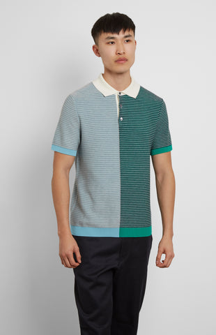 Polo Shirt Text Silk Stripes In Green Multi