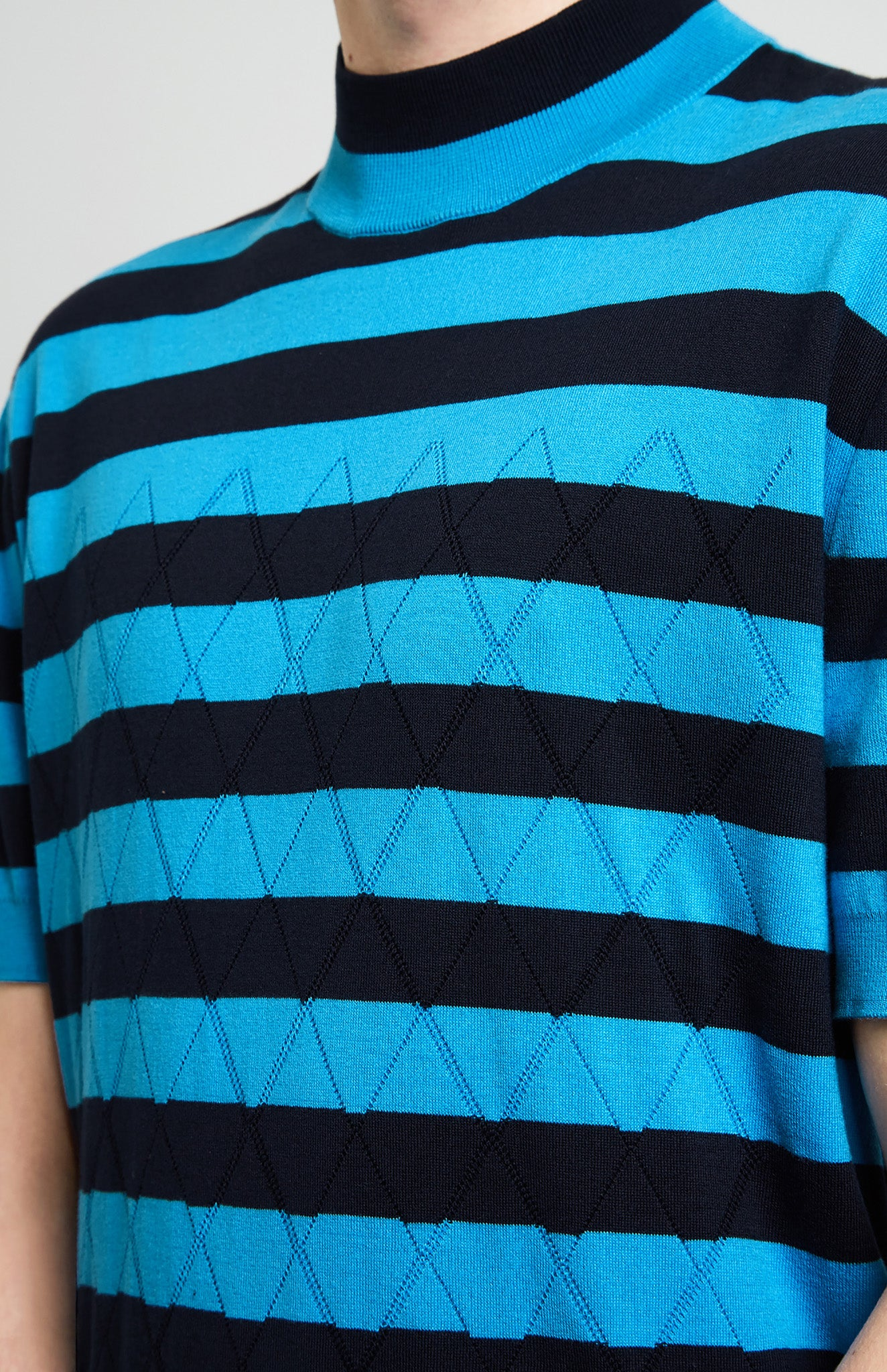 Mesh & Stripe Knitted T-shirt In Ink/Pool Blue