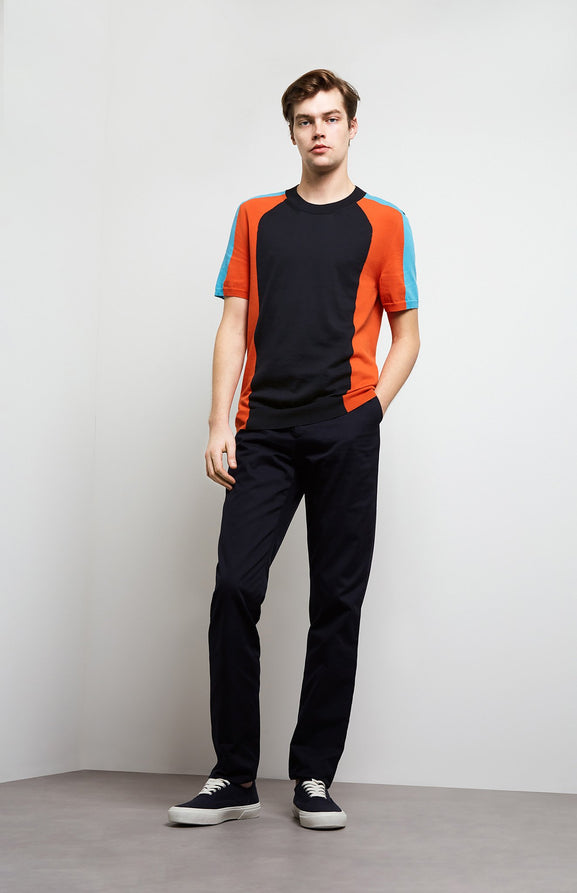 Colour Block Short Sleeved Jersey In Ink/Tangerine
