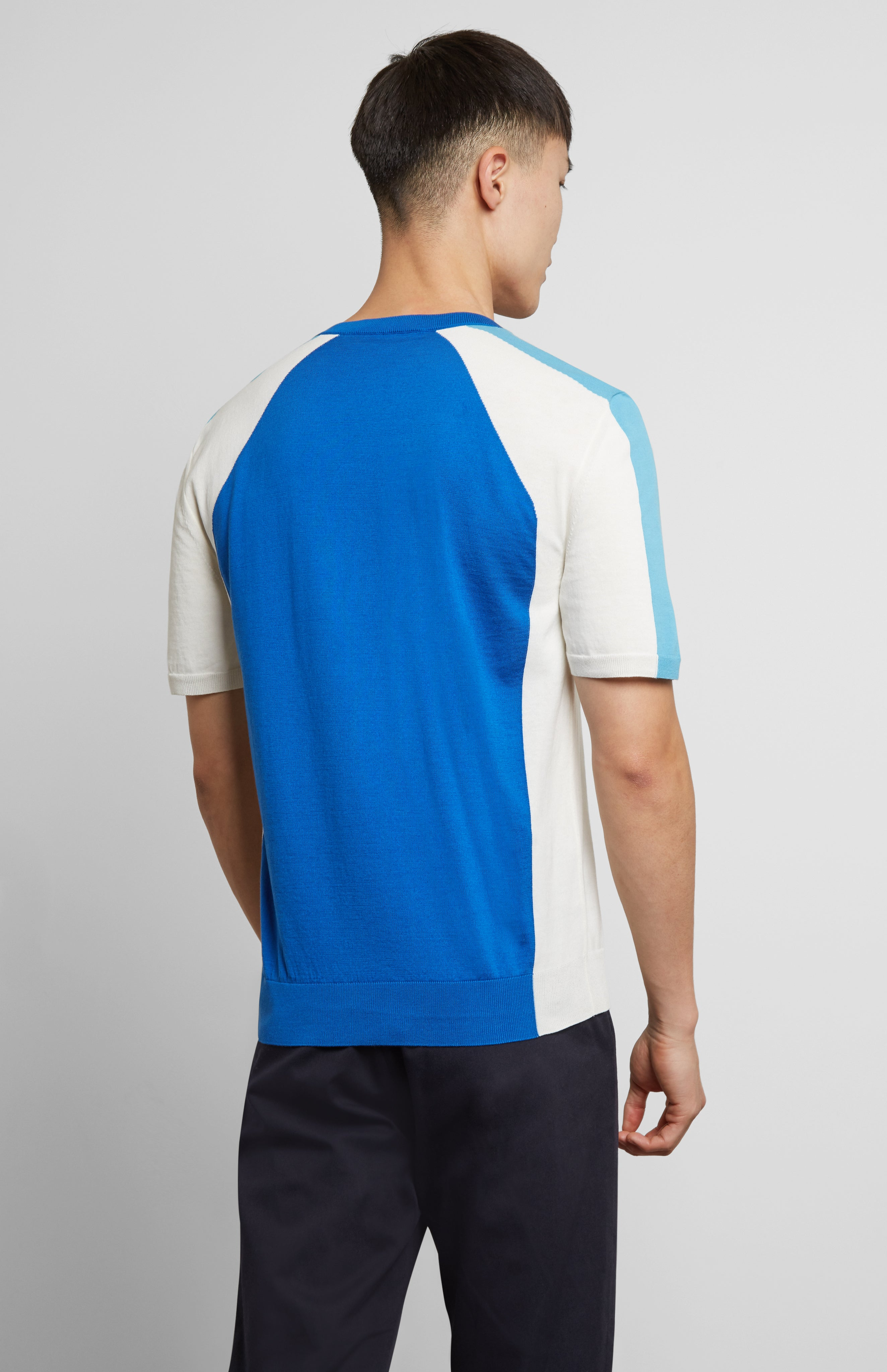 Colour Block Jersey In Blue/White
