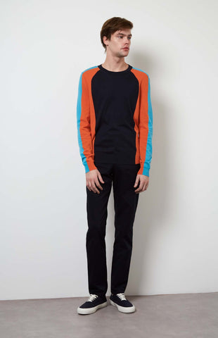 Colour Block Long Sleeved Jersey In Ink/Tangerine