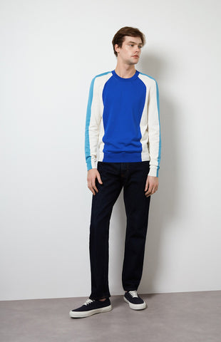 Colour Block Long Sleeved Jersey In Cobalt Blue/Optic White