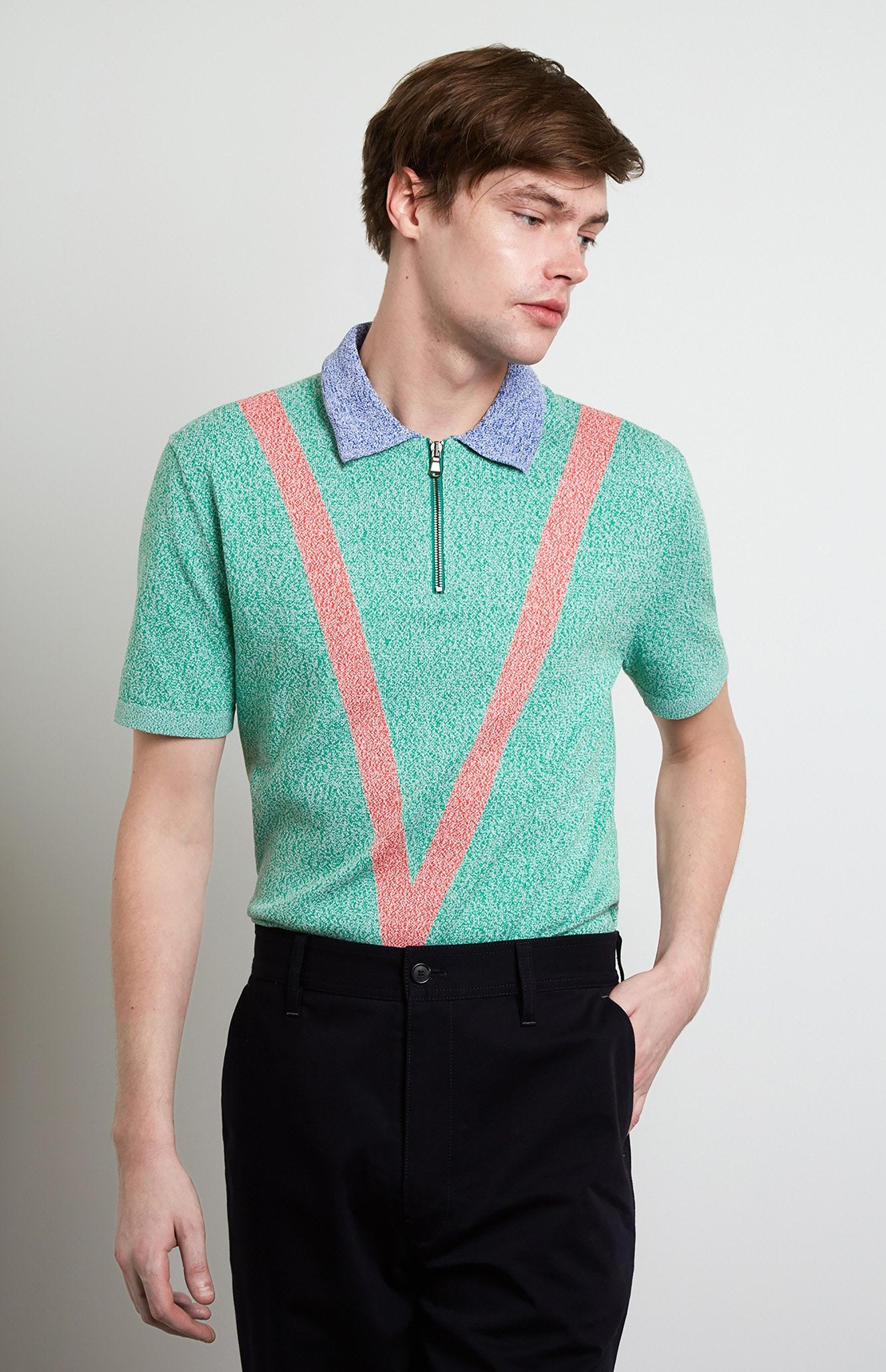 Tech Knit Polo Shirt In Grass/Red