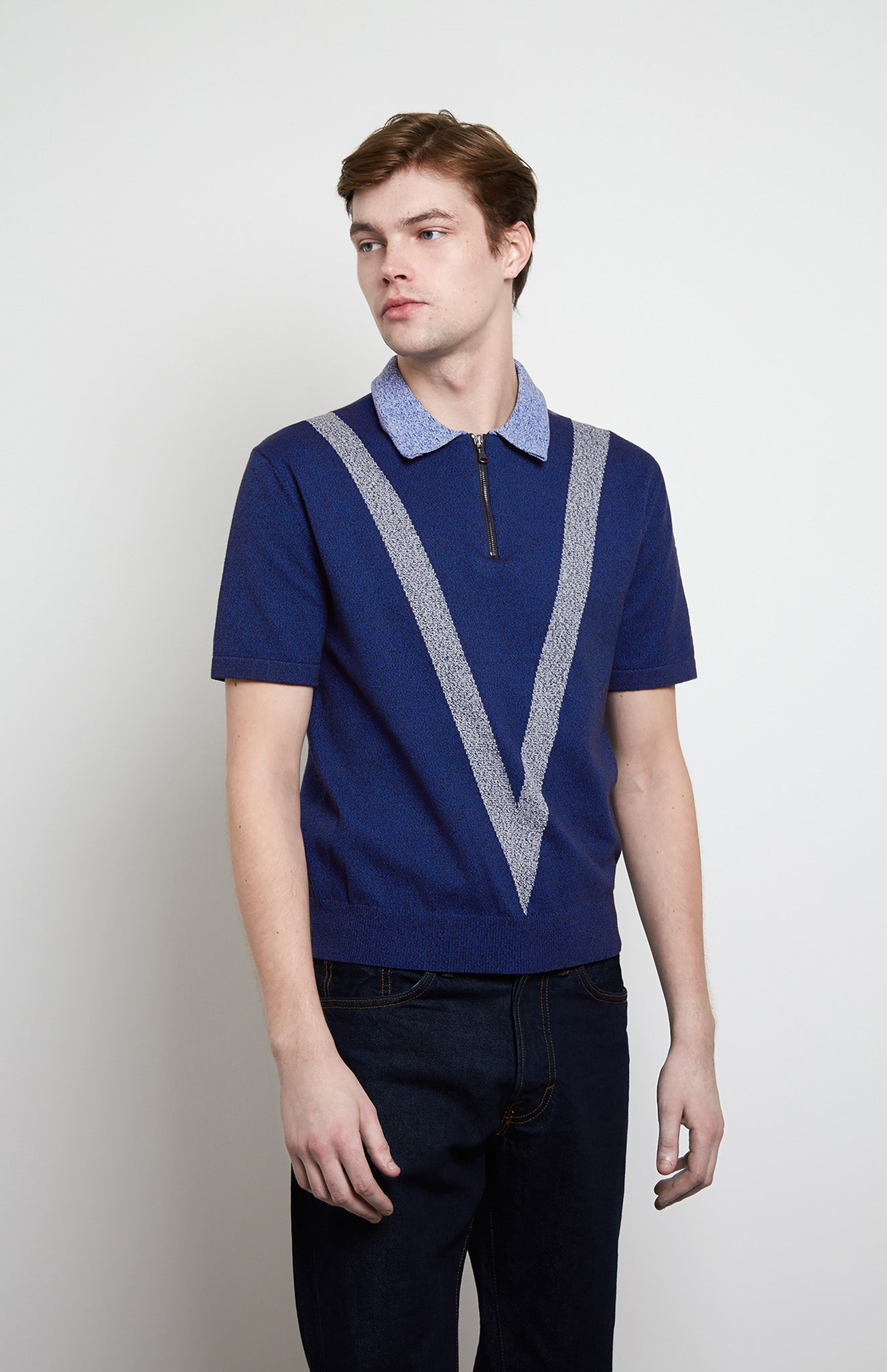 Tech Knit Polo Shirt In Navy