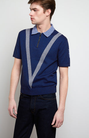 Tech Knit Polo Shirt In Ink/Cobalt Blue