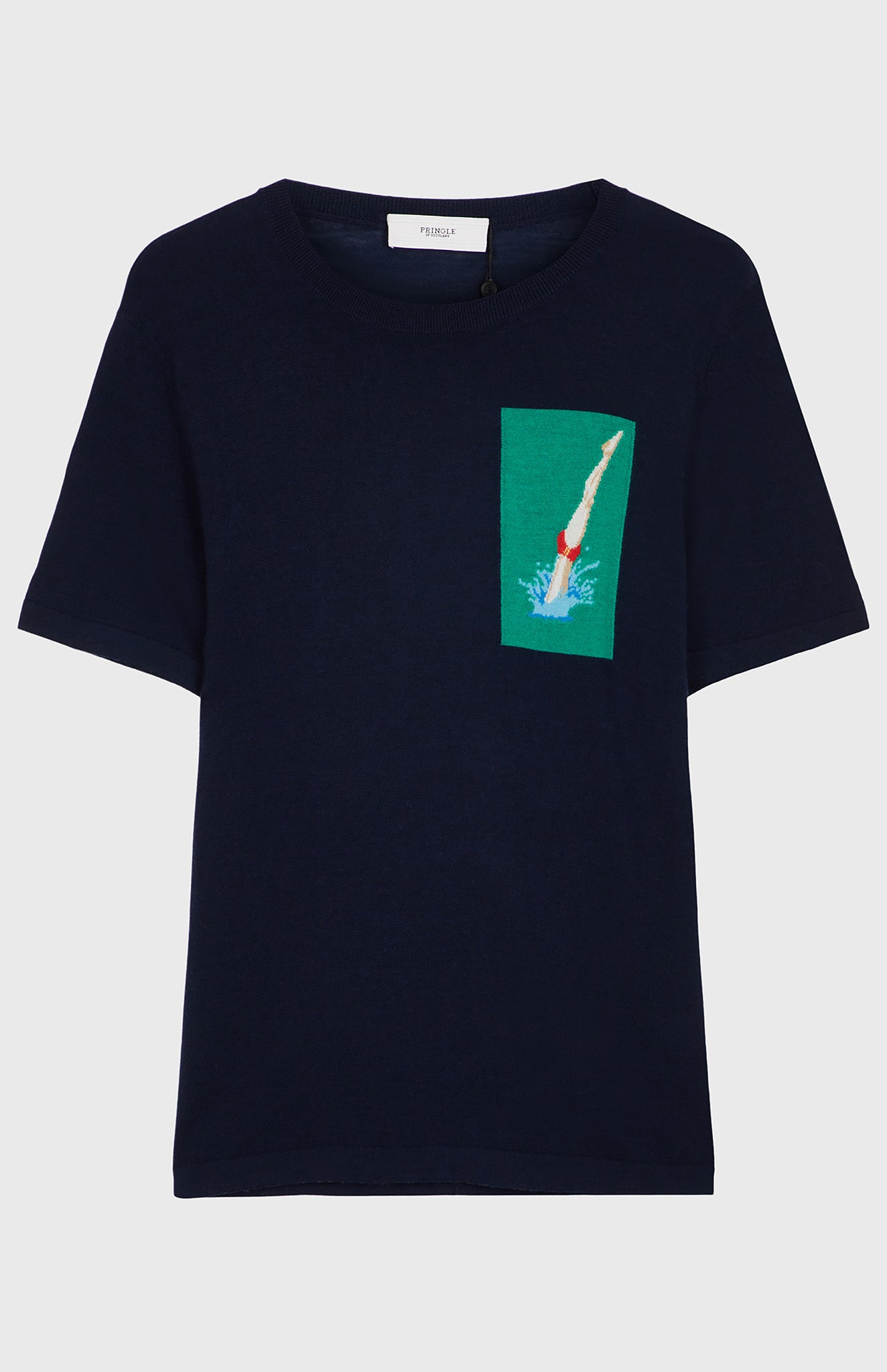 Merino Wool Diver T-shirt In Ink/Grass