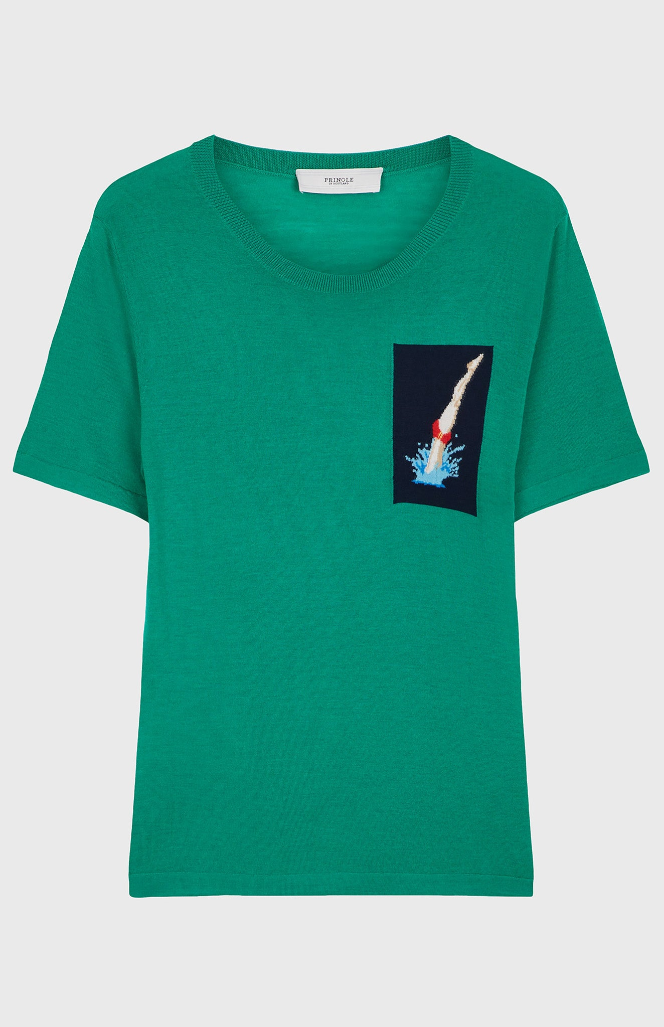 Merino Wool Diver T-shirt In Grass/Ink