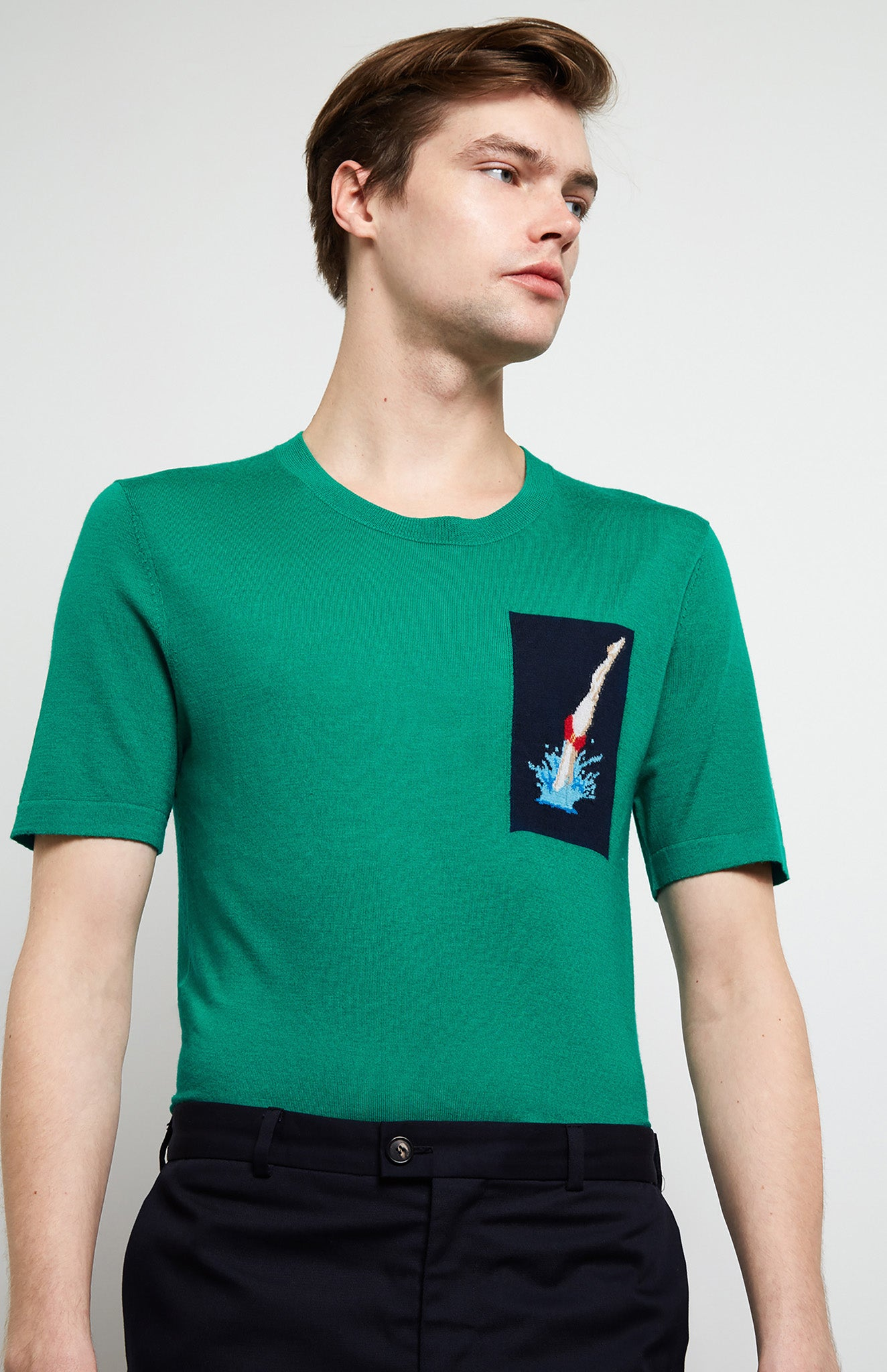 Merino Wool Diver T-shirt In Grass