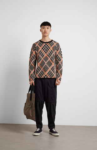 Prince Of Argyle Merino Check Jumper In Beige/Orange