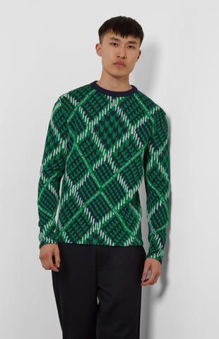 Prince Of Argyle Merino Check Jumper In Green/White
