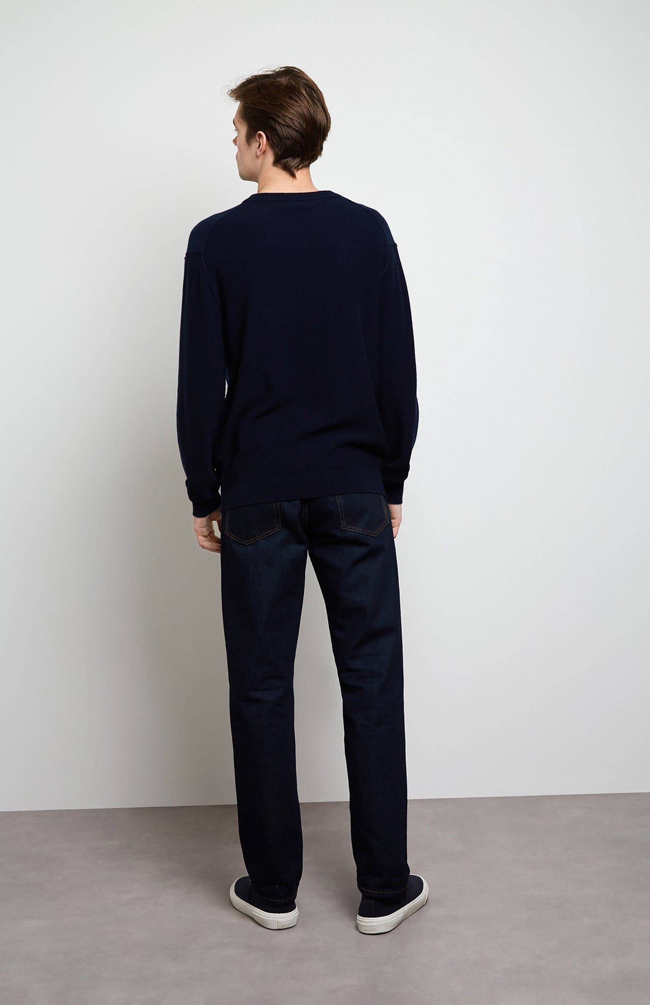 Intarsia Diver Cashmere Jumper in Navy