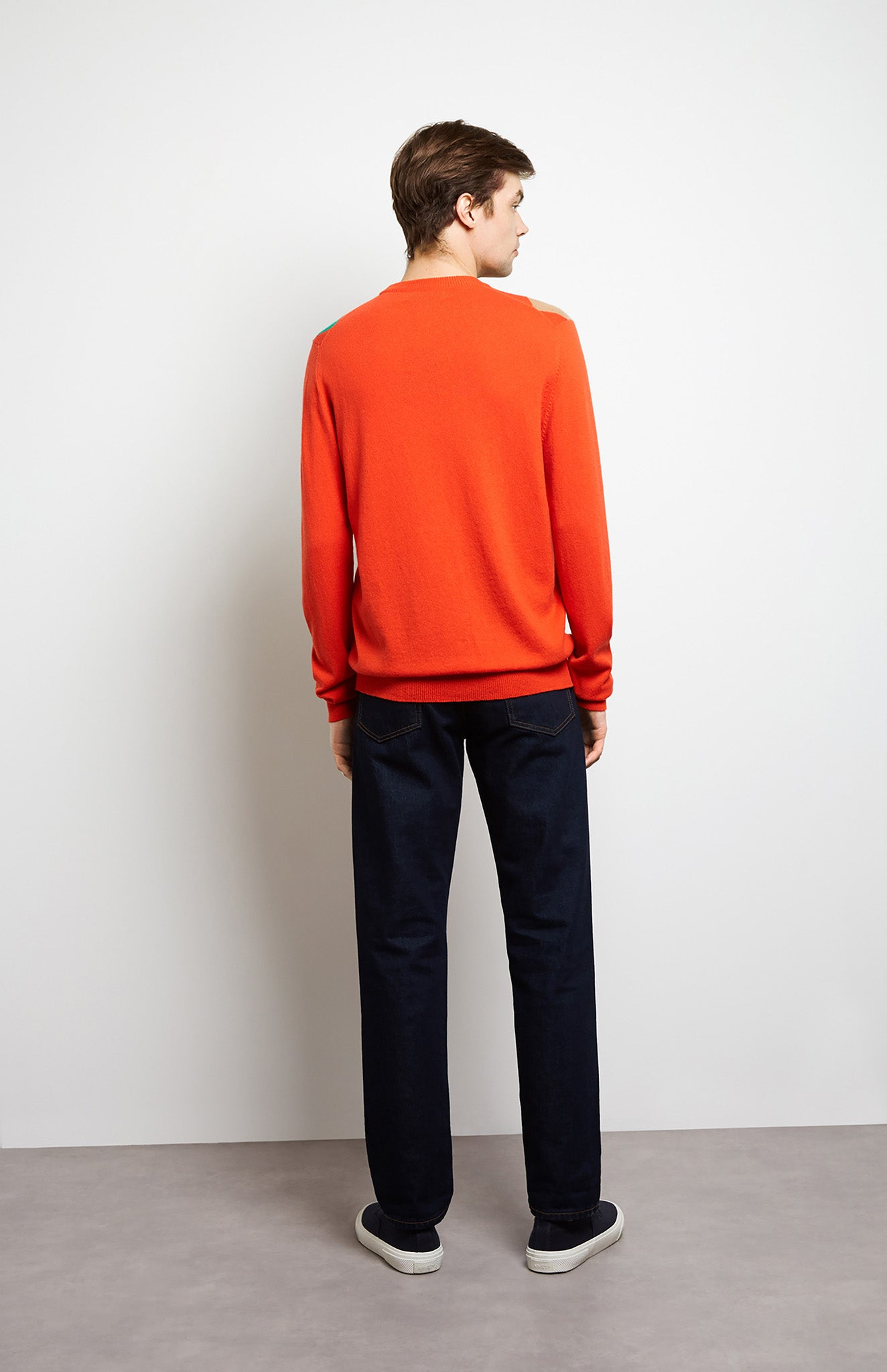 Argyle Cashmere Jumper In Orange