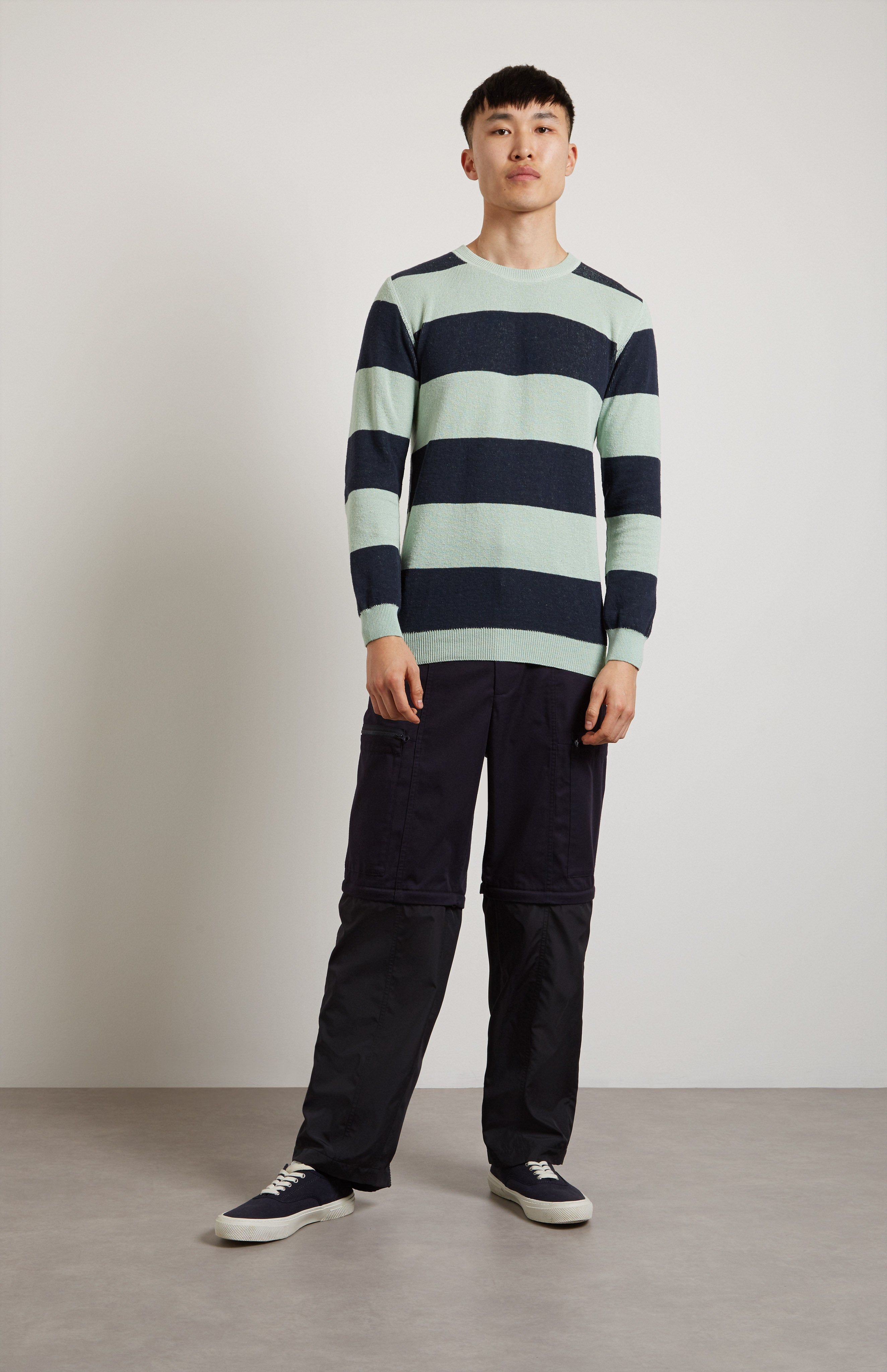 Textured Striped Cotton Jumper In Green/Blue