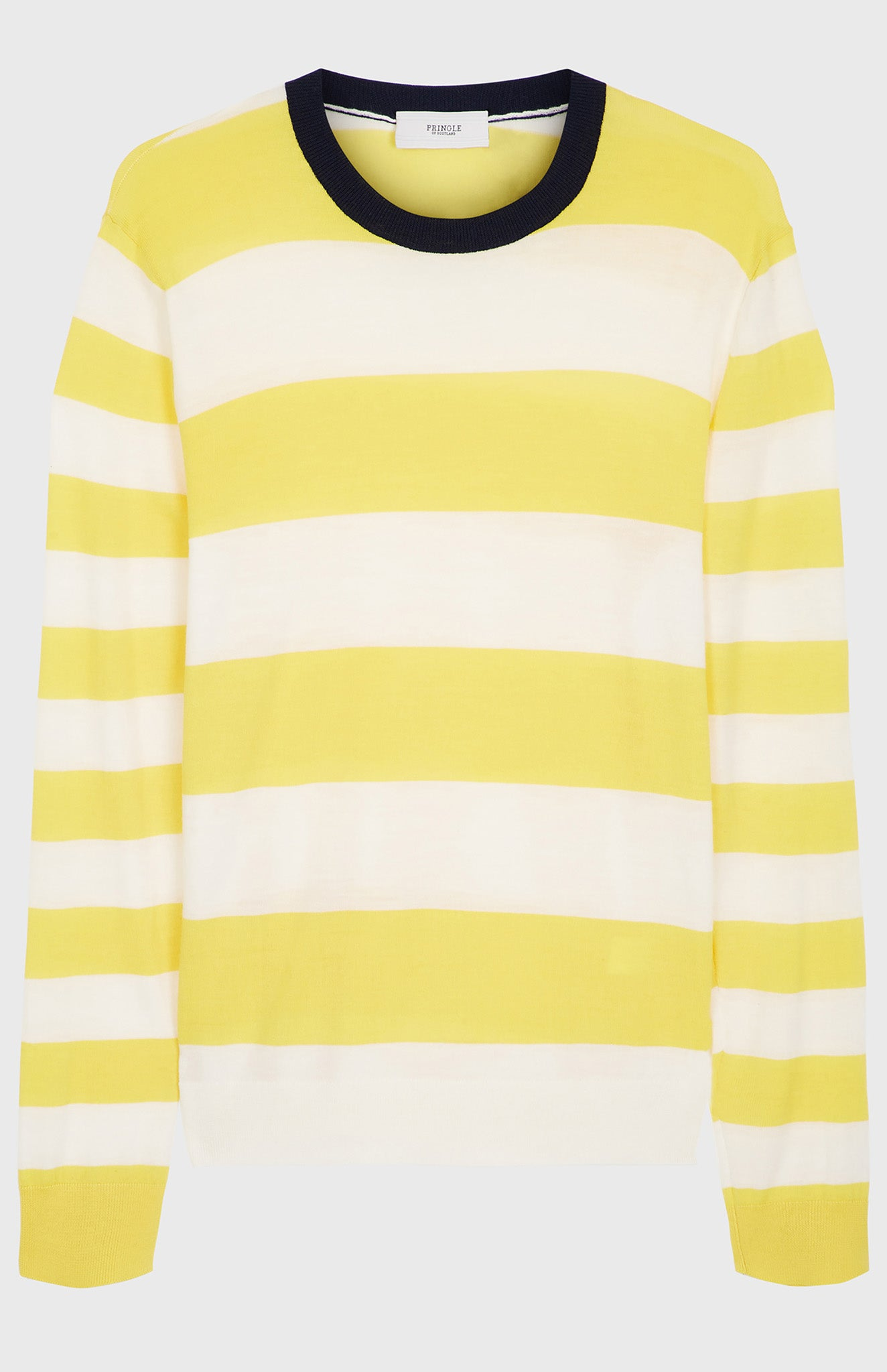 Rugby Stripe Merino Jumper In Yellow
