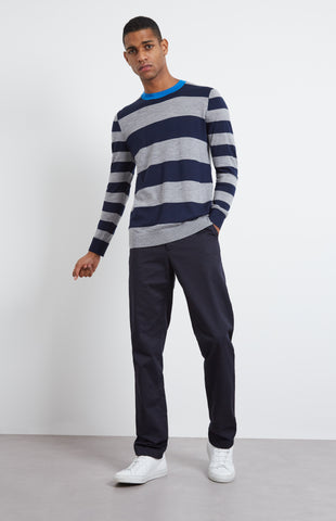 Rugby Stripe Merino Wool Jumper In Ink/Flannel Grey