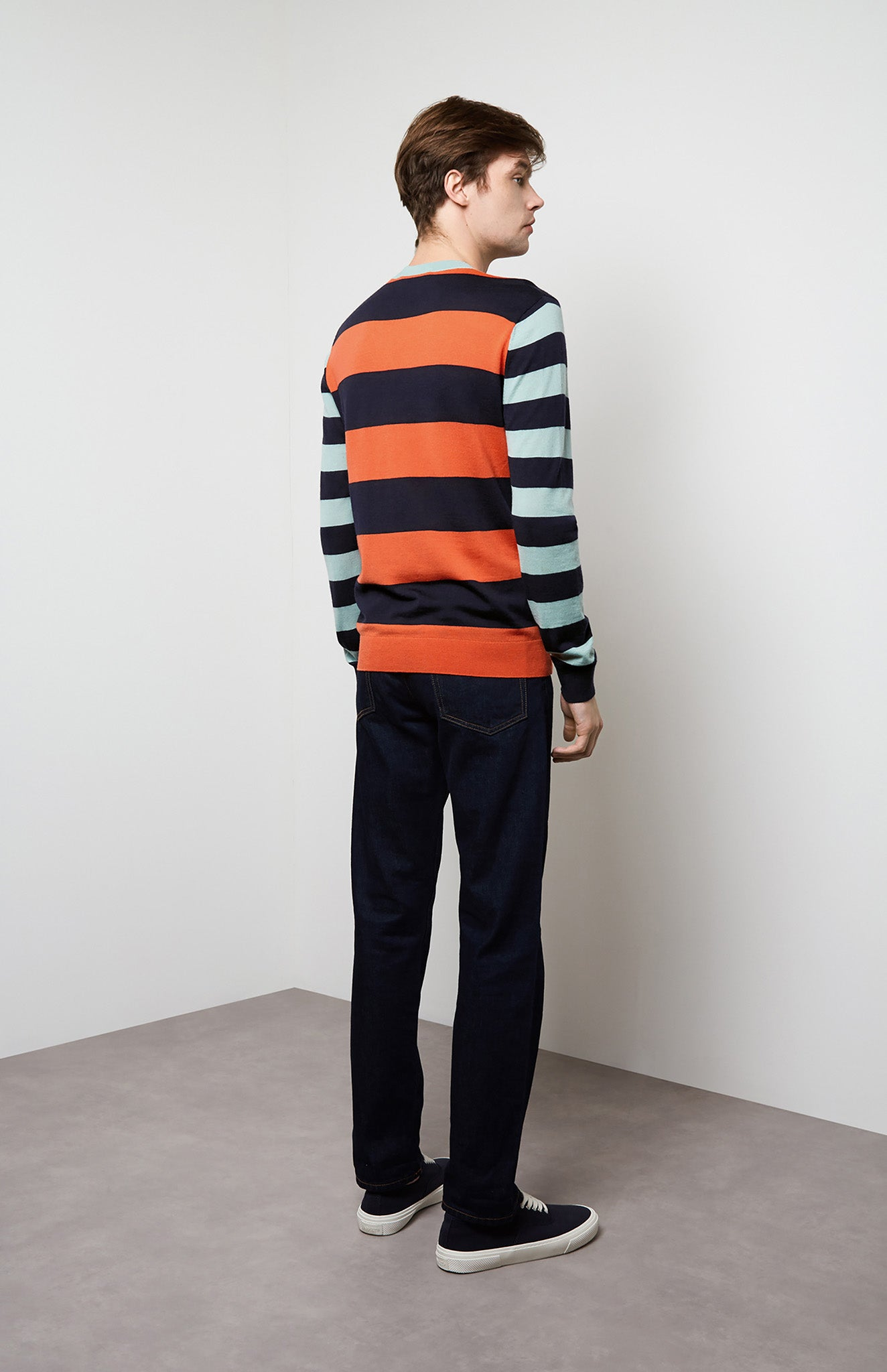 Rugby Stripe Merino Jumper In Orange/Navy