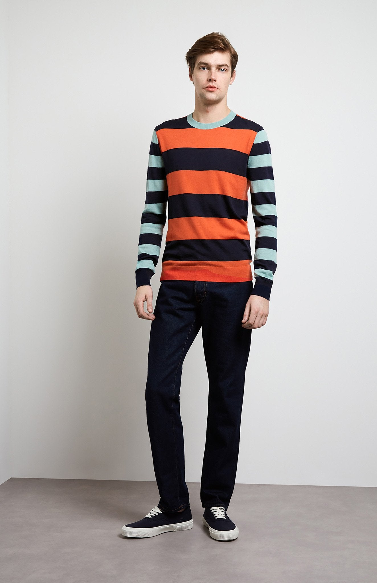 Rugby Stripe Merino Wool Jumper In Tangerine/Ink