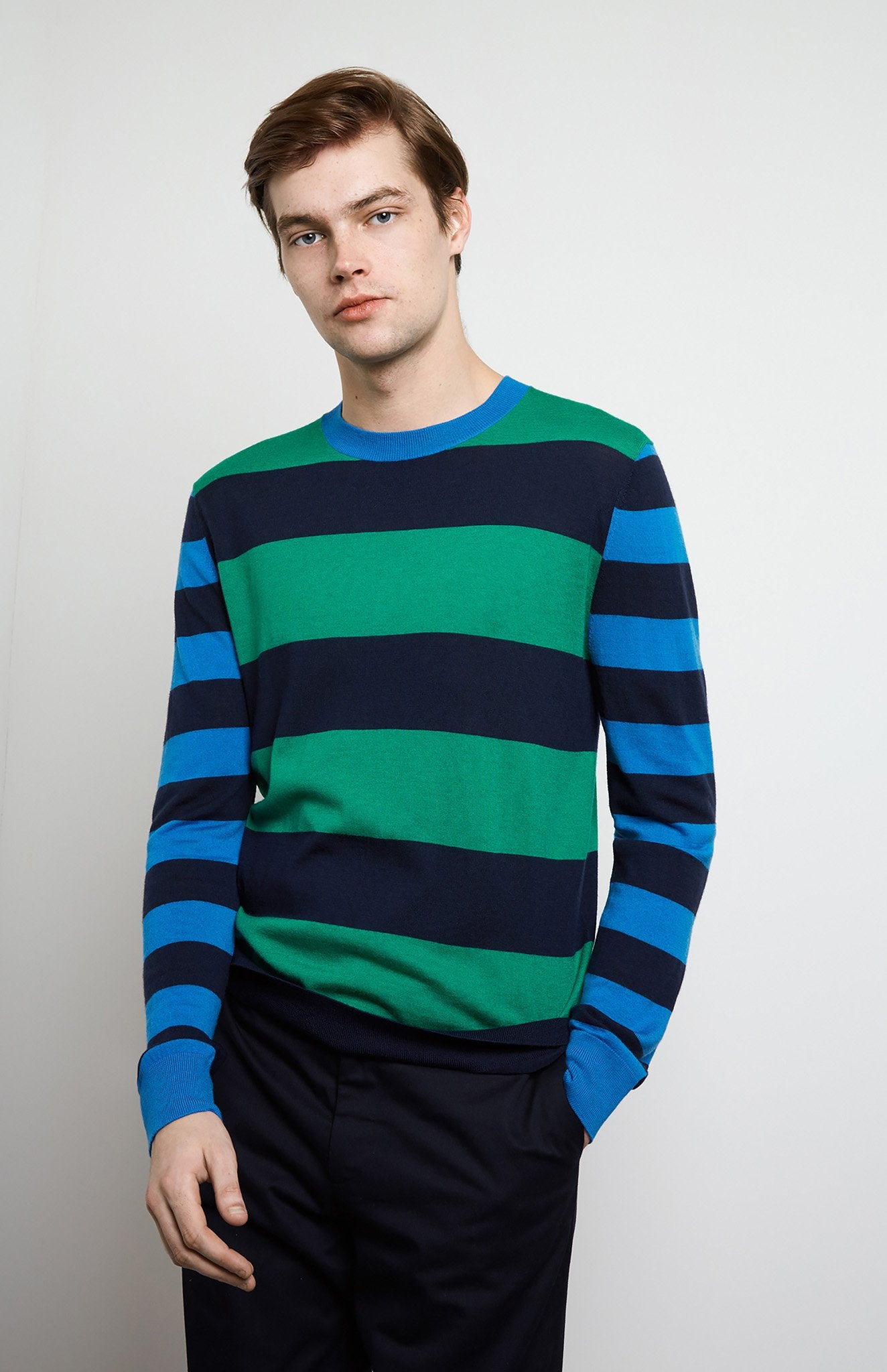 Rugby Stripe Merino Wool Jumper In Grass/Ink