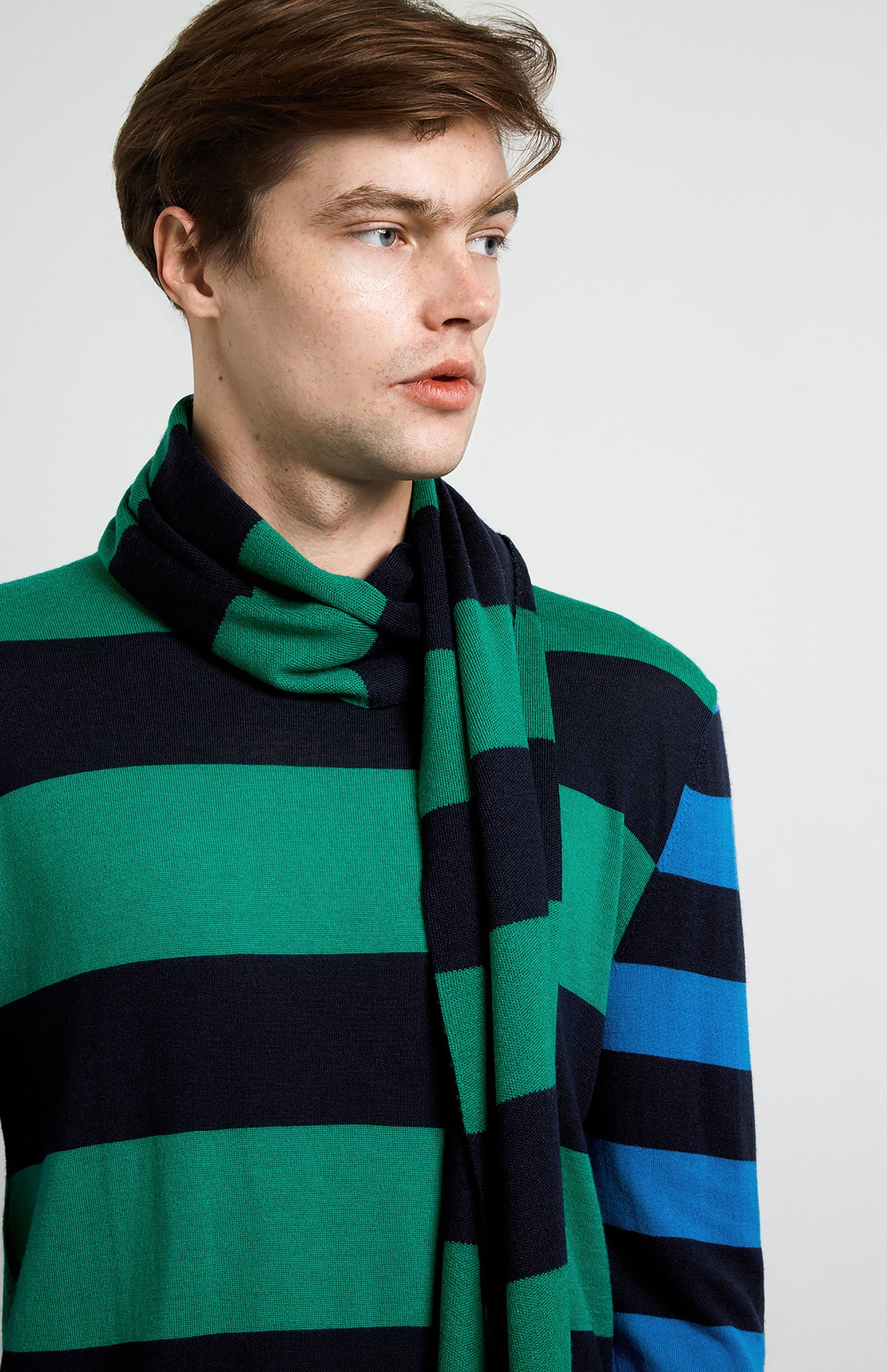 Rugby Stripe Merino Jumper In Green/Navy