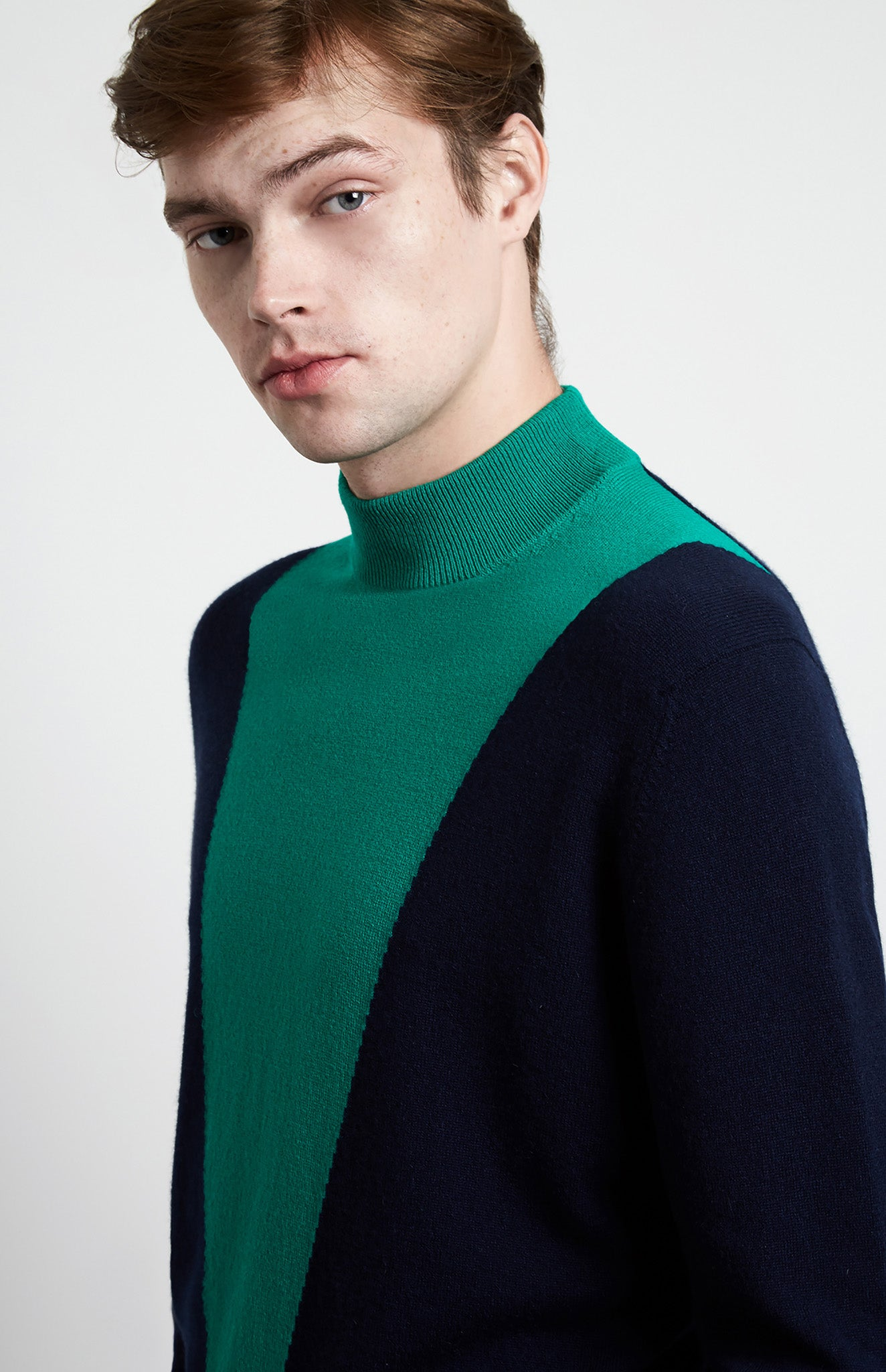 Mock Neck Colour Block V Jumper In Ink