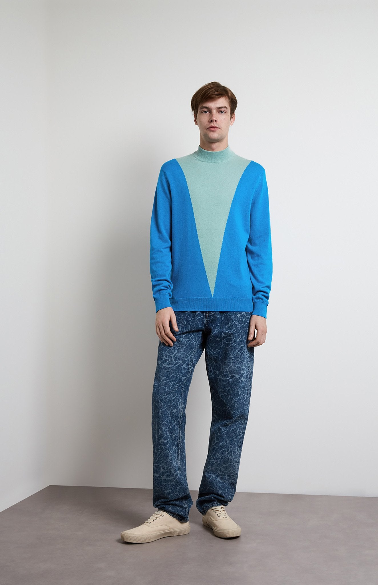 Mock Neck Colour Block V Jumper In Cobalt Blue
